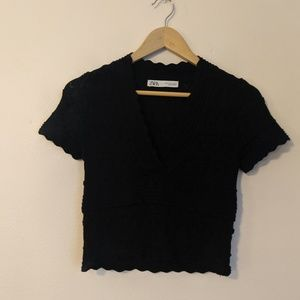 Zara Black Knitted Short Sleeve Top Size Small